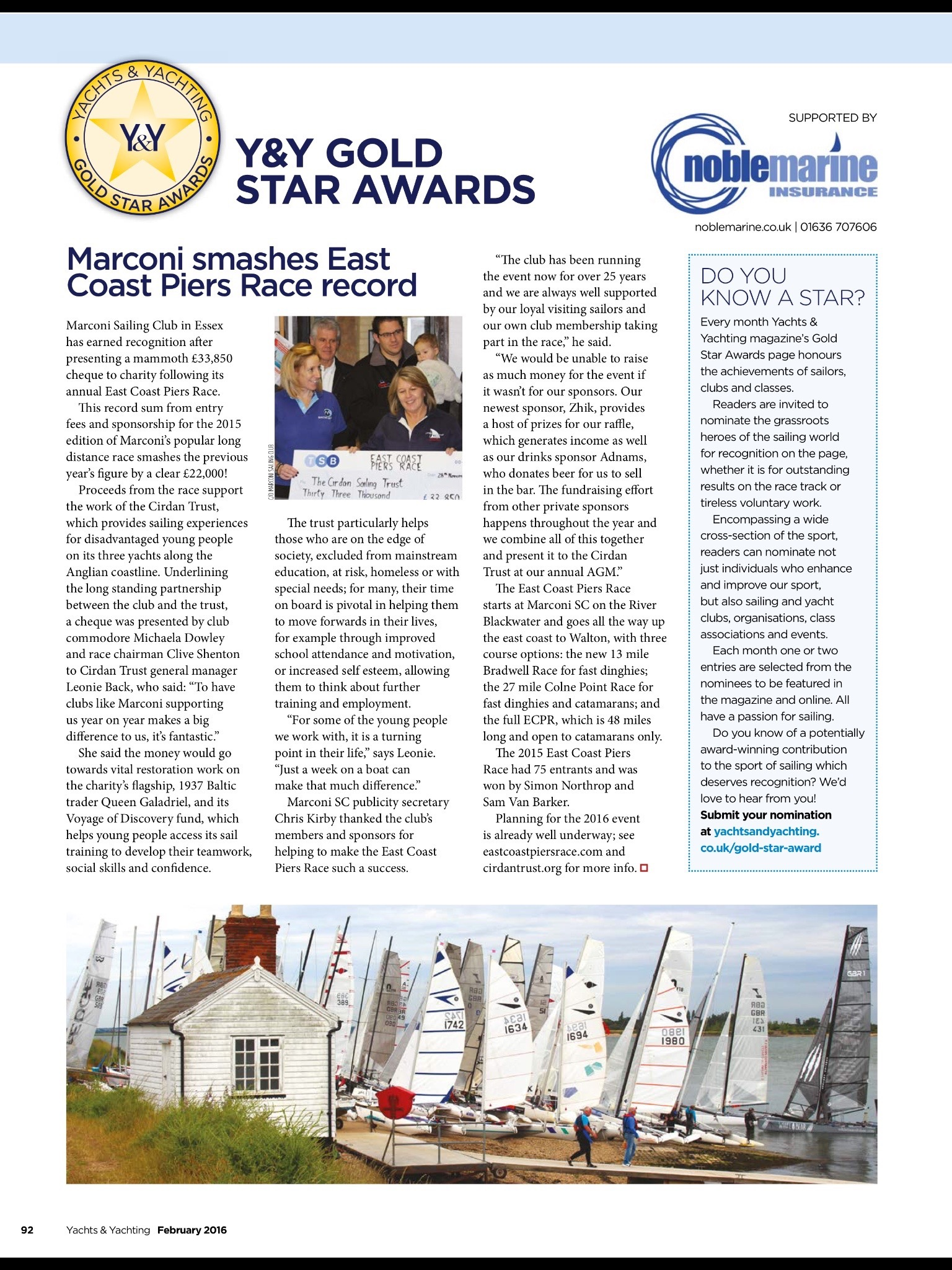 Yachts and Yachting Gold Star Award for Marconi Sailing Club