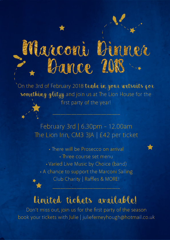 Marconi SC Dinner Dance - 3rd Feb 2018 - Tickets from Julie Ferneyhough