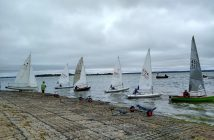 Sailing Dinghies Lined Up and Read to Start Racing at Marconi Sailing Club on the River Blackwater