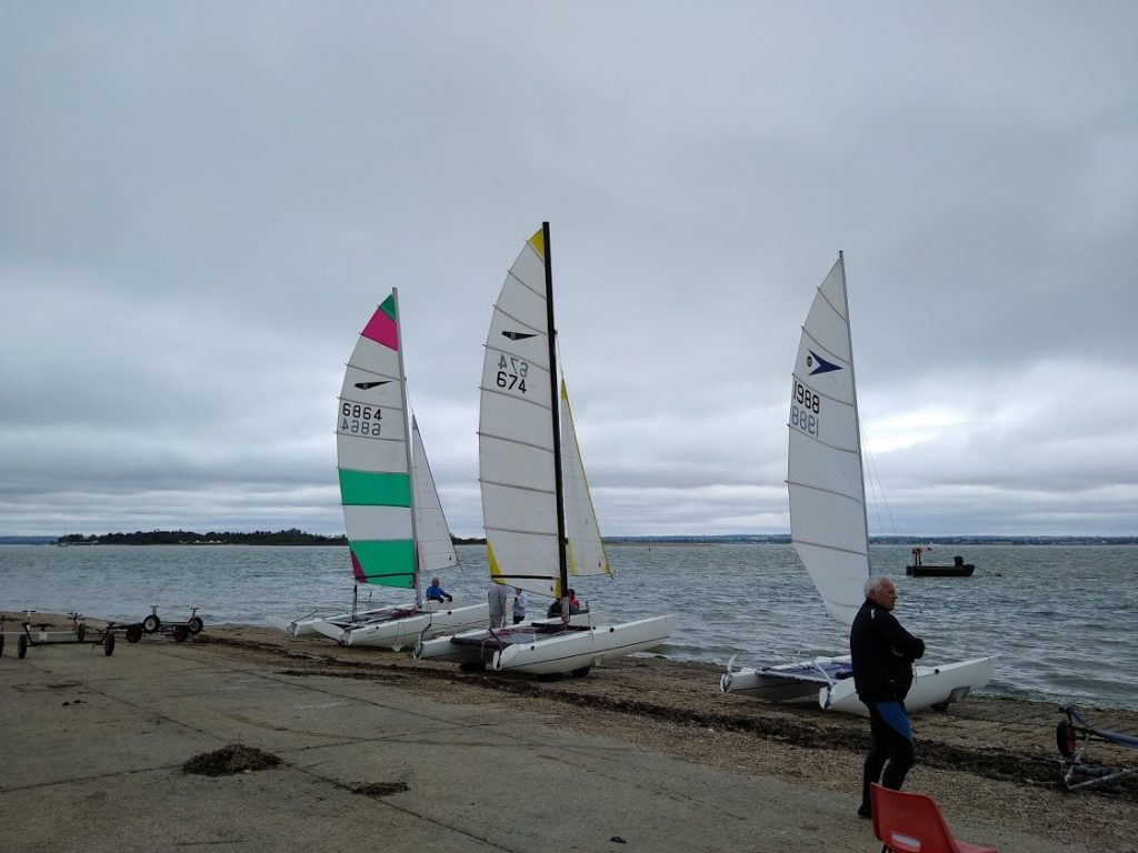 Catamarans at Marconi Sailing Club on the River Blackwater in Essex