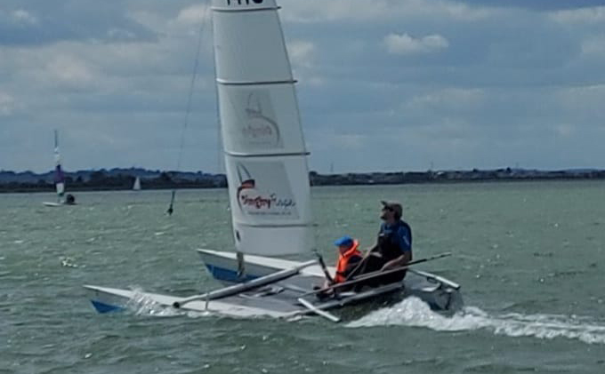 Harry and Andrew Dowley sailing a Sprint 15 at Marconi Sailing Club