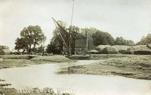 The LORD WARDEN at Church Wharf Salcott unloading flints, c1920.