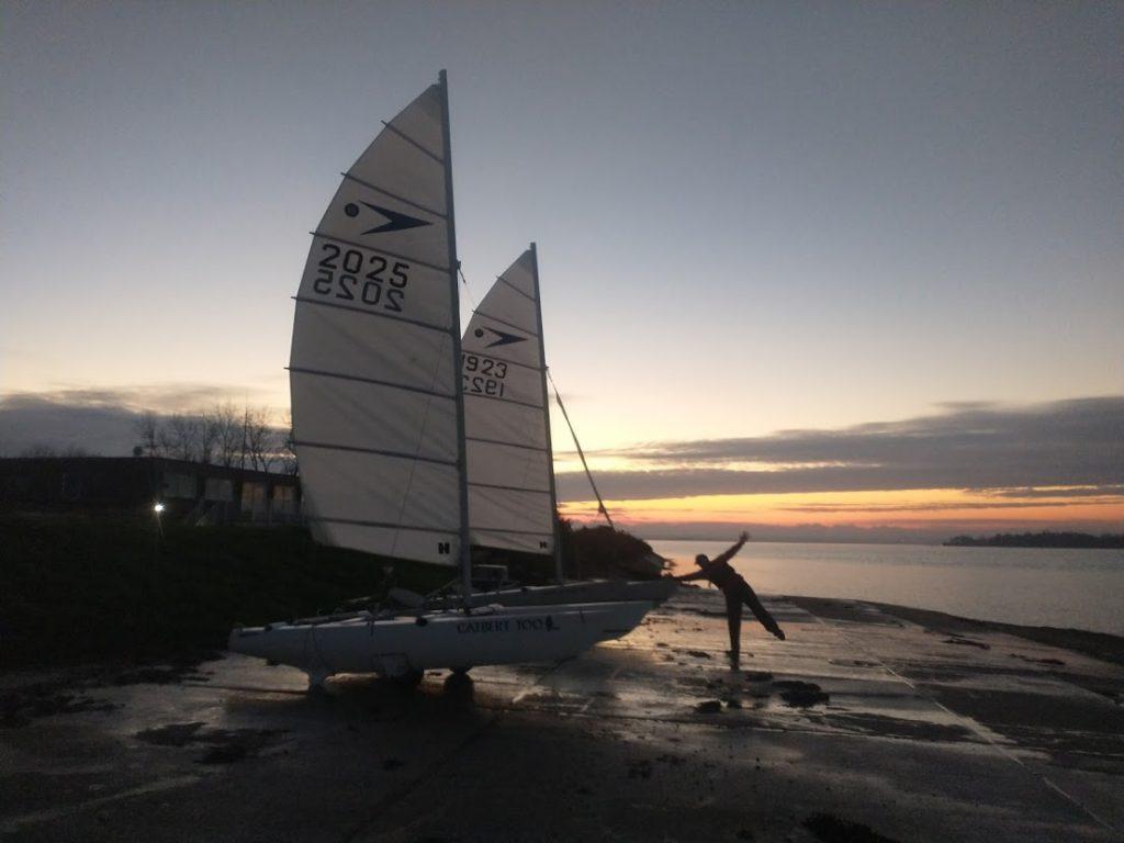 Jenny and David Ball and their Sprint 15 catamarans