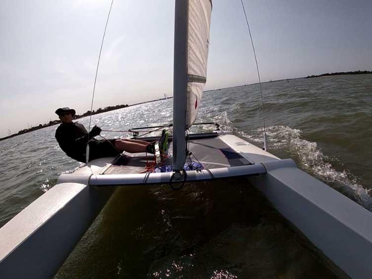 Lee Garton Sailing his Sprint 15 at Marconi Sailing Club